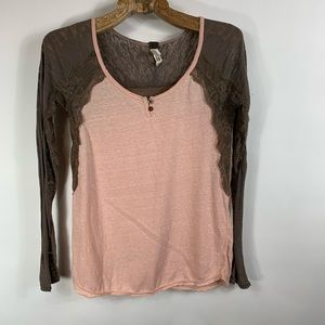 Free People Peach Brown Lace Long slv T Shirt XS